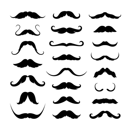 Mustaches icons set. Isolated symbol EPS 10 Vector illustration.