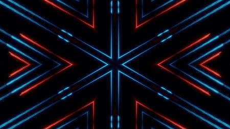 Moving abstract neon lines in space, 3d rendering backdrop