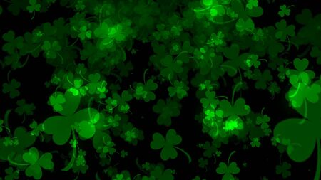 Background with bright leaved greenery clover and shamrock on black, 3d rendering backdrop