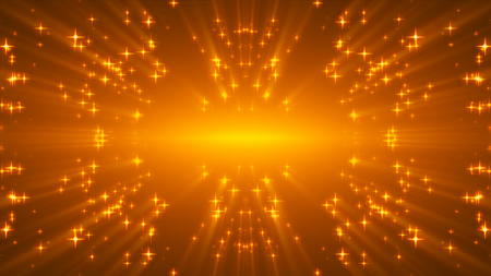 Gold glittering stars on black, many particles, celebratory 3d rendering background Stock Photo