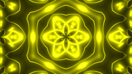 Abstract background with VJ Fractal Yellow kaleidoscopic. 3d rendering digital backdrop.