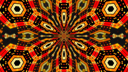 Abstract symmetry techlonogy kaleidoscope, 3d rendering backdrop, computer generating Stock Photo