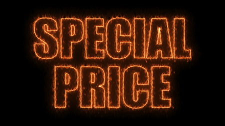 Letters of Special price text on black, 3d render background, computer generating for trading Stock Photo