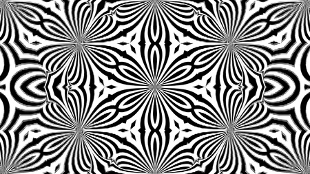 Abstract symmetry black and white kaleidoscope, 3d rendering backdrop, computer generating