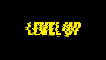 Letters of Level up text with noise on black, 3d rendering background, computer generating for gaming Stock Photo