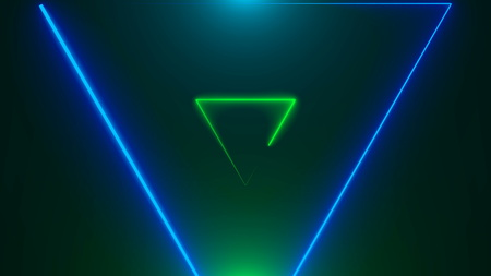 Many neon triangles in space, abstract computer generated backdrop, 3D rendering backdround