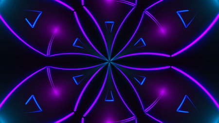 Beautiful abstract symmetry kaleidoscope with shiny neon lines, 3d rendering backdrop, computer generating background Stock Photo