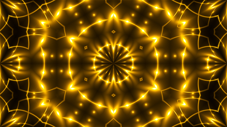 Beautiful abstract kaleidoscope - fractal golden light, 3d rendering backdrop, computer generating background Stock Photo