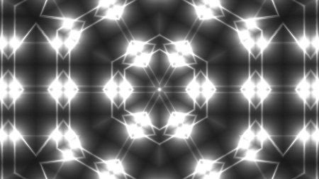 Abstract symmetry kaleidoscope - fractal lights, 3d rendering backdrop, computer generating background Stock Photo