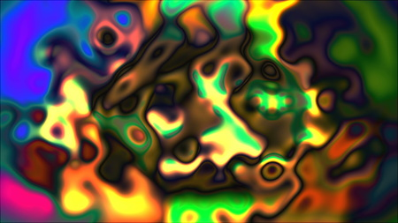Psychedelic liquid, bright abstract 3D computer rendering backdrop, colorful palette mesh background