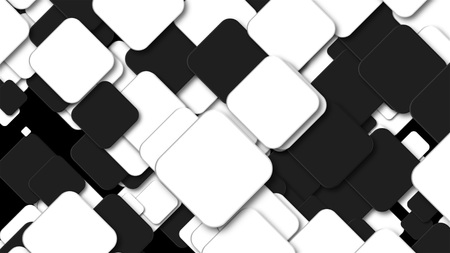 Many black and white squares are in space, computer generated modern abstract background, 3d rendering