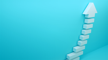 Succes arow with stairs, 3d rendering background, symbol of budiness development Stok Fotoğraf