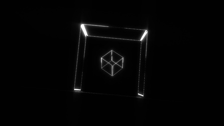 Many transparent neon cubes rotating in space, 3d rendering background, computer generating Stock Photo