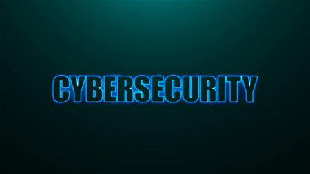 Letters of Cybersecurity text on background with top light, 3d rendering background, computer generating for business
