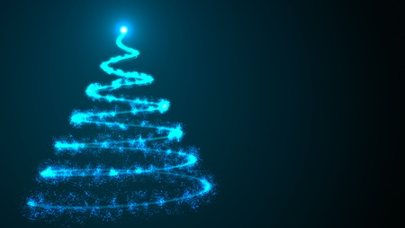 Simple christmas tree as spiral from many shiny particles in space, 3d rendering background for happy holidays