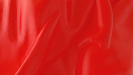 Beautiful red wavy fabric, computer generated background, 3d rendering backdrop