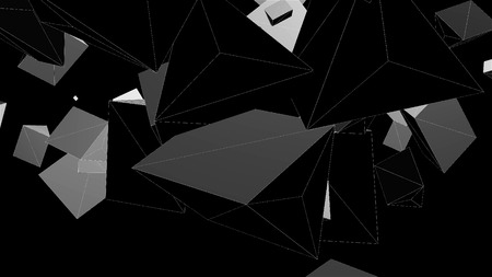 Wireframe abstract shapes, chaotic space, 3d render computer generated background