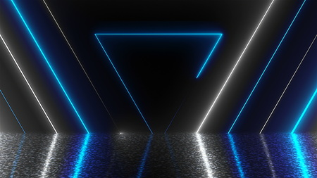 Abstract triangles neon tunnel with reflection, computer generated background, 3D render background Standard-Bild