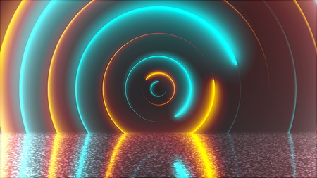 Abstract circles neon tunnel with reflection, computer generated background, 3D render background 写真素材