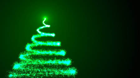 Christmas Tree on black background. Colorful 3d rendering backdrop