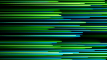 Many neon lighting lines on black, abstract computer generated backdrop, 3D rendering Stock Photo