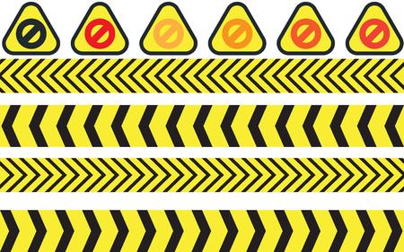 vector illustration of warning icons. Иллюстрация