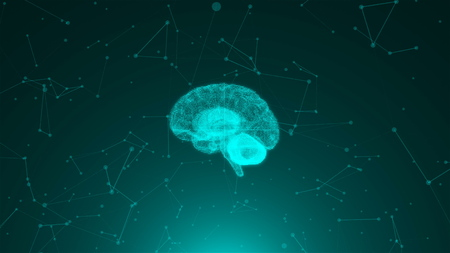 3d render of brain on background with many connection dots, concept for science, technology, internet, computer rendering backdrop Stock Photo