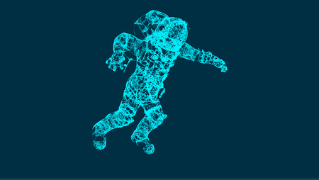Abstraction with astronaut in the space, consisting of lines and shapes, connection wireframe concept, vector illustration