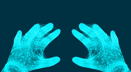Abstract image of hand with connection dots, lines in space, connection structure, vector illustration eps 10