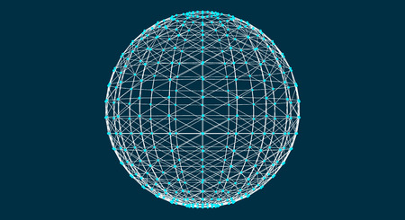 3d sphere with mesh effect, abstract connections with dots are in space, trasparent planet, vector illustration