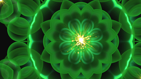 Beautiful symmetrical flower ornament with shining effect, 3d rendering, computer generated background