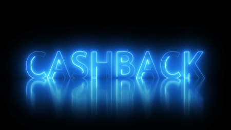 Cashback text with visual effect of electricity and illumination, 3d rendering computer generated background for banks and retail networks