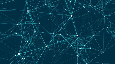 Les connexions abstraites sont dans l'espace. Arrière-plan avec des points et des lignes de connexion. Structure de connexion. Illustration vectorielle