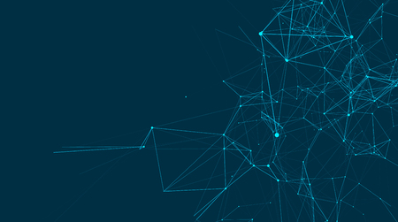 Abstracte verbindingen zijn in de ruimte. Achtergrond met aansluitende stippen en lijnen. Verbindingsstructuur. vector illustratie