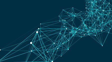 Las conexiones abstractas están en el espacio. Fondo con puntos y líneas de conexión. Estructura de conexión. Ilustración vectorial Ilustración de vector
