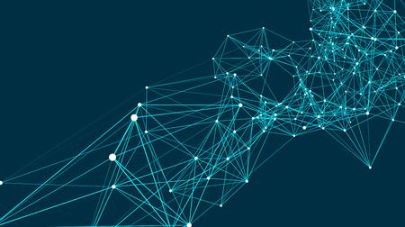 Le connessioni astratte sono nello spazio. Sfondo con punti e linee di collegamento. Struttura di connessione. Illustrazione vettoriale Vettoriali