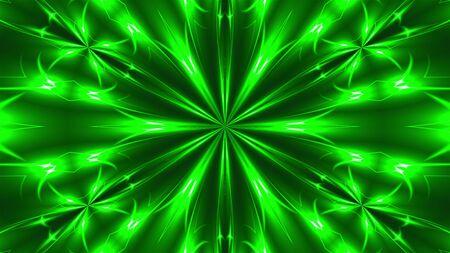 Abstract symmetry kaleidoscope - fractal lights, 3d rendering backdrop, computer generating background Imagens