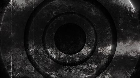 Grunge metal circles abstraction with lighting, 3d rendering computer generated background