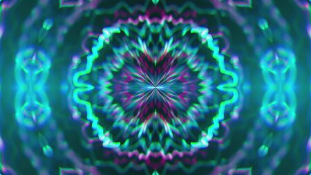 Abstract symmetry kaleidoscope like Mandala ornament, 3d rendering backdrop, computer generating background Zdjęcie Seryjne