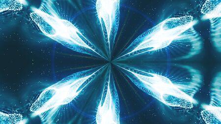 Beautiful abstract kaleidoscope - fractal flower, 3d rendering backdrop, computer generating background Imagens