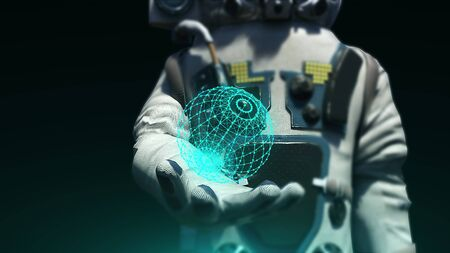 Astronaut in modern scaphandre holds connection dots, 3d render background, computer generated backdrop