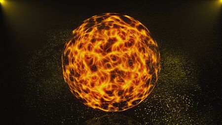 3d abstract magic sphere is in dark space, 3d rendering computer generated background