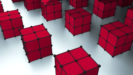 Many 3d rendering cubes with dots are on surface, modern computer generated background, stylish backdrop