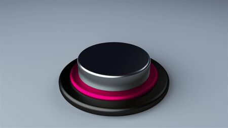 Round push button bordered by a metallic ring - object for design, 3d rendering background