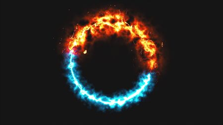 Bright dymanic fire and ice ring in space, this is opposite symbol, 3d rendering, computer generated background