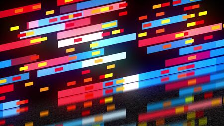 Abstract technology with many rectangles background, surface with reflection, 3d render backdrop, computer generating Imagens