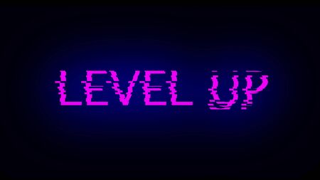 Letters of Level up text with noise on black, 3d rendering background, computer generating for gaming Imagens