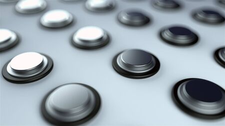 Surface with numerous repeating metal buttons, isometric background, modern computer generated 3d rendering backdrop