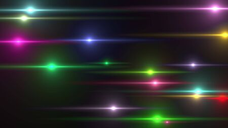 Animation of horizontal multi colored lights flash randomly on a black background. Computer generated background 3d rendering