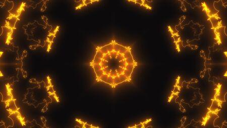 Abstract neon kaleidoscope background, 3d rendering computer generated background Imagens